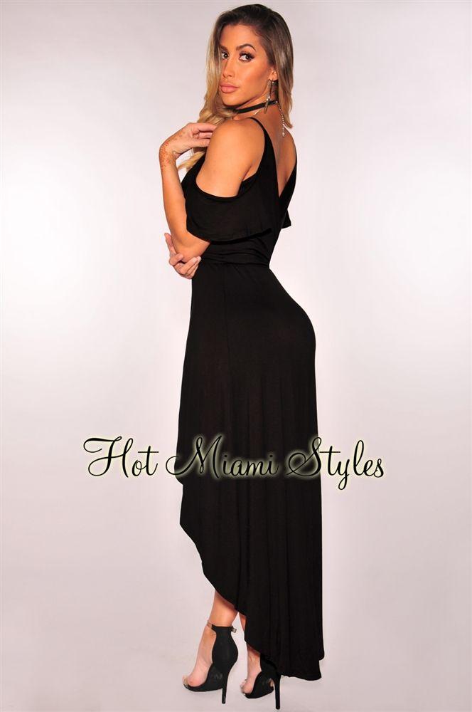 Black Off Shoulder Wrap Maxi Dress