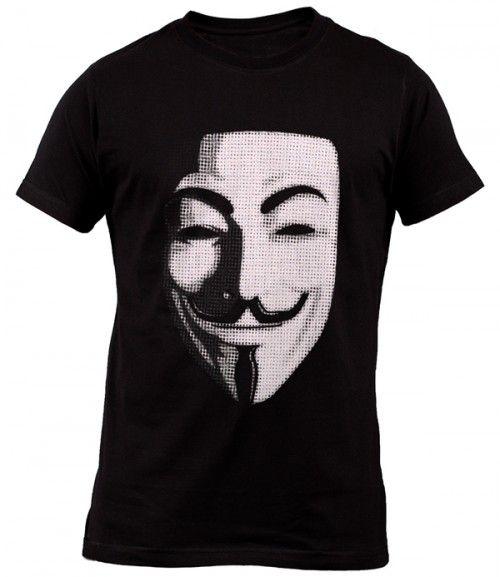 NEW Men's T-Shirt Anonymous Mask Hacker Typo Script Black T-Shirt