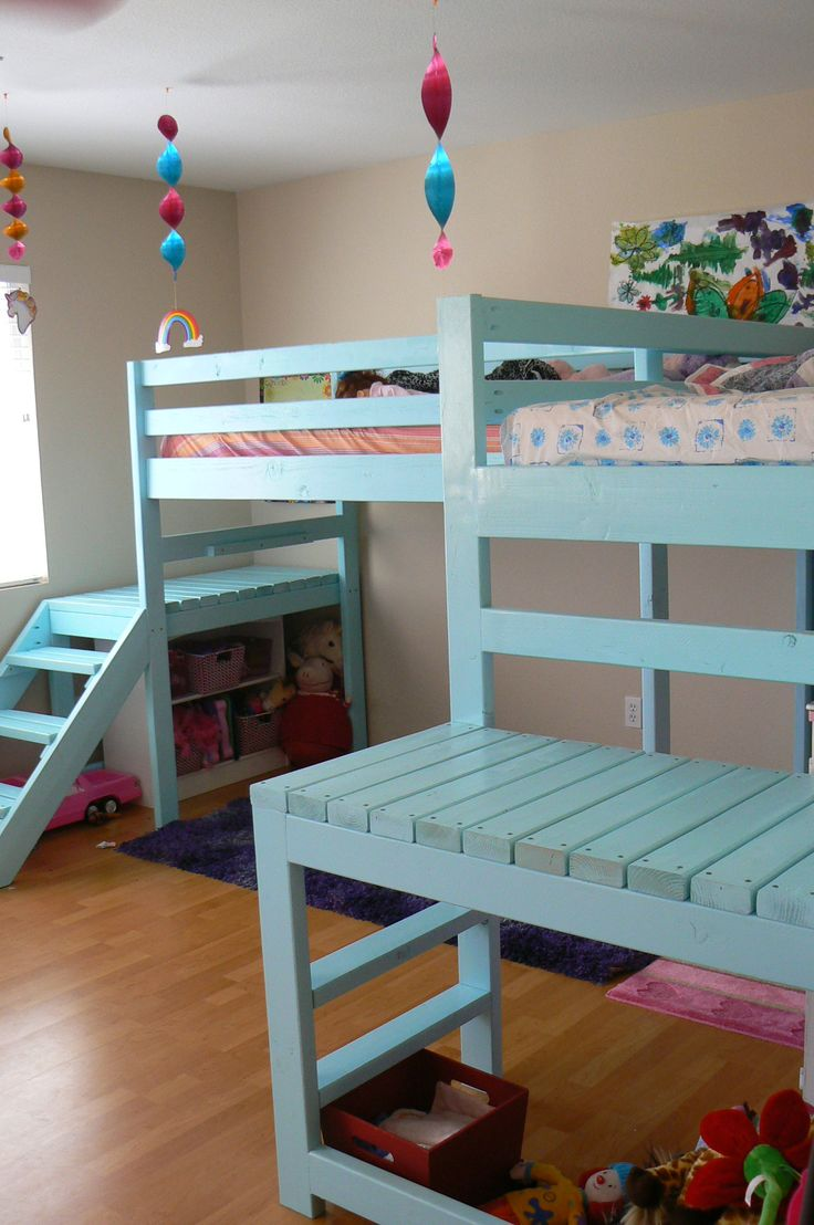 Two Camp Loft Beds...LOVE this design...think this is it!!!  Love the platforms and ladders!