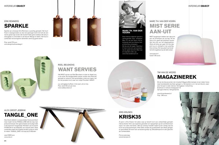 Interieur tips voor dit najaar. Publicatie LEVEN! magazine (editie Utrecht). Mist lamp van ontwerper Marc Th. van der Voorn voor AAN-UIT.