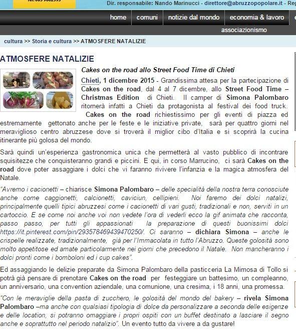 #cakesontheroad della pasticceria LaMimosa di Tollo è su Abruzzo Popolare #natale #chieti
