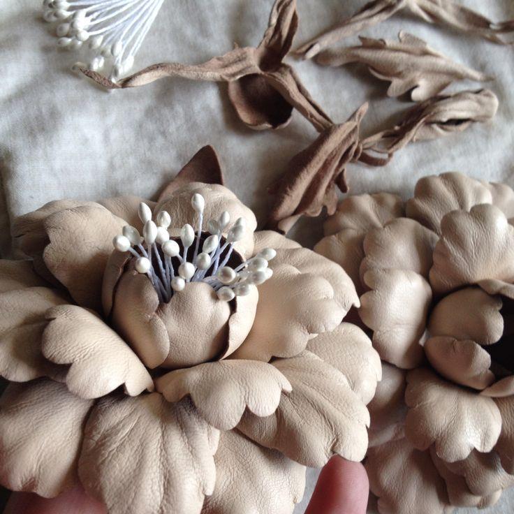 Millinery leather flowers. For my new headband. Handmade silk flowers www.zisseylove.etsy.com