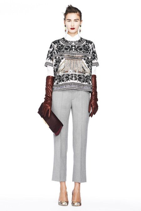 I love this top, inspired by Morocco, worn over a crisp white shirt. (I can do without the elbow length gloves.) From the J.Crew Fall 2013 Collection