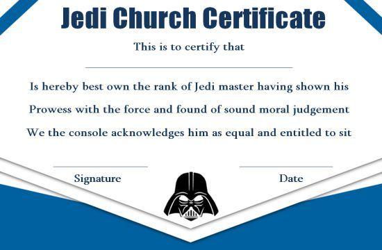 Jedi Certificate TemplateTraining Certificates for Jedi Program