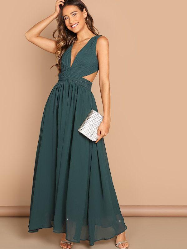 fbb4c9dea27 Plunge Neck Crisscross Waist Prom Dress -SHEIN(SHEINSIDE)