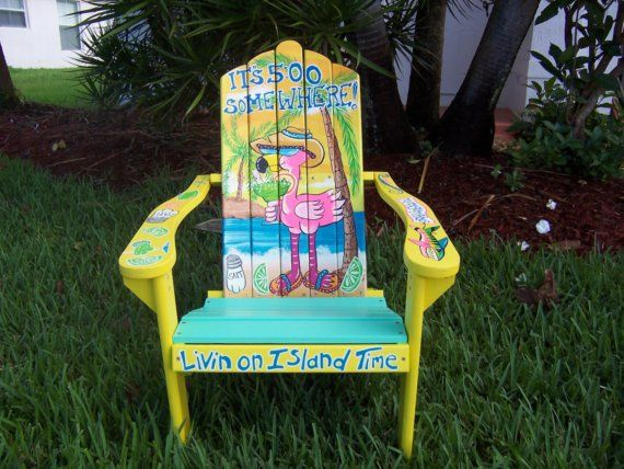 Tropical Adirondack Chair Handcrafted Hand Painted Flamingo Beach Margarita