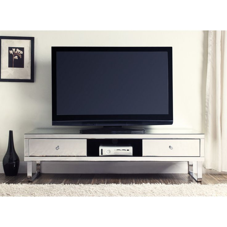 Mirrored Media TV Stand Cabinet 2 Drawers