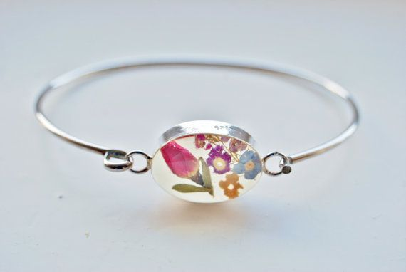 Valentine Jewelry - Real Miniature Rosebud Bracelet For Valentine / Real Flower Jewelry - Real Rose Bangle For Love and Romance, $38.99