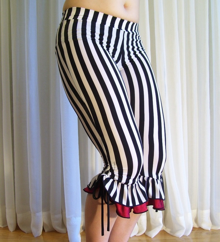 """Capri bloomers ruffles pants - 1/2"""" black and white stripes with red ruffles - YOUR SIZE. $49.00, via Etsy."""