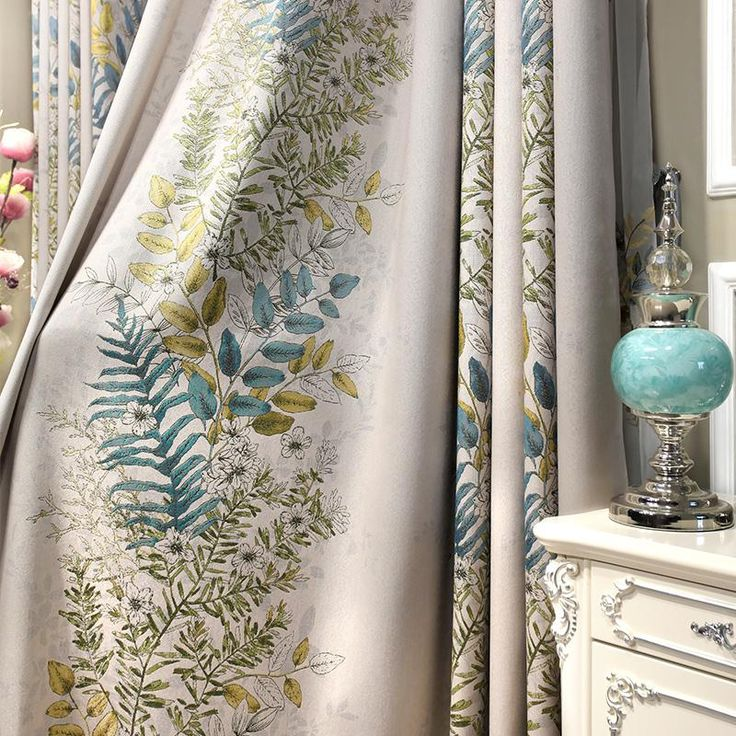 Euro Jacquard Half Blackout Curtains Living Room Plants Printed Window  Curtains Bedroom Luxury Cortina Kitchen Curtains Part 97