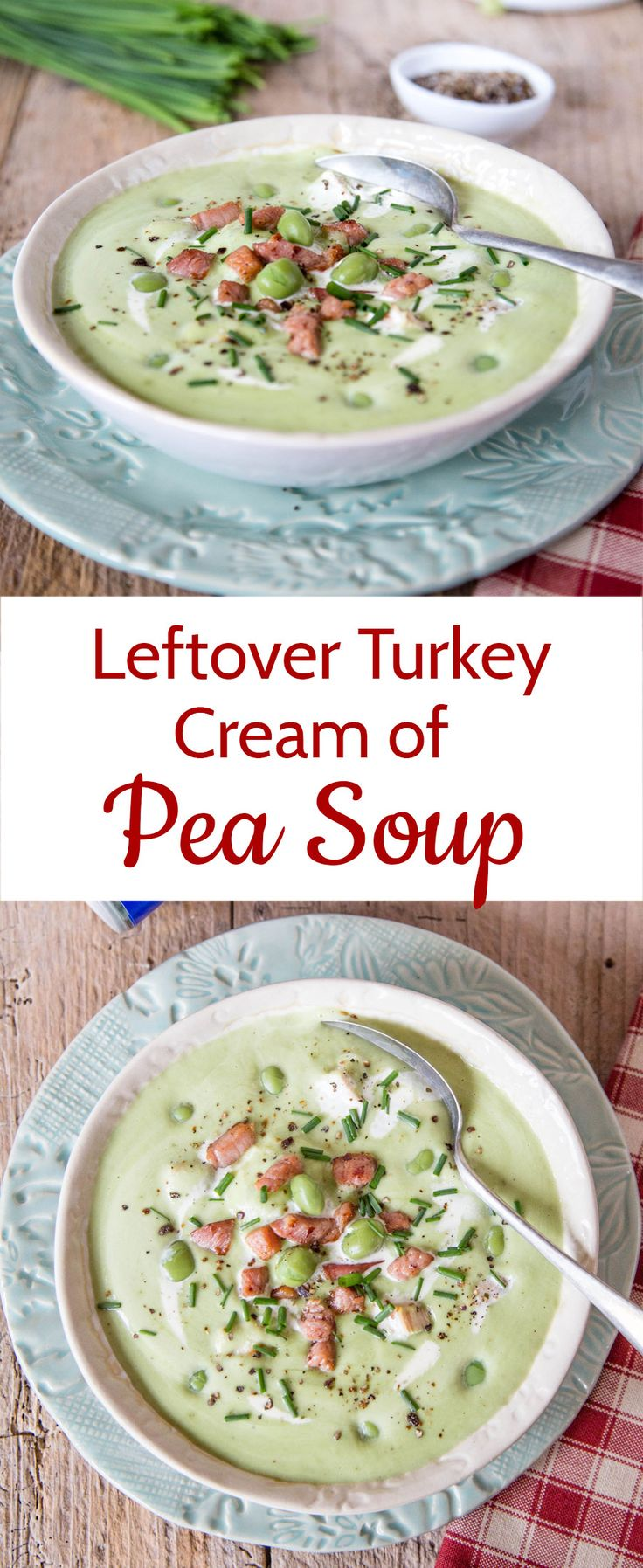 An easy, comforting indulgent recipe for a creamed pea soup - using store cupboard peas.  Ideal for your turkey leftovers