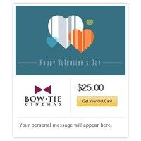 Bow Tie Cinemas Valentine's Day Gift Cards - E-mail Delivery   Bow Tie Cinemas, the nation's oldest theater circuit, has served guests since 1900, and currently has 57 locations in 6 states. Read  more http://themarketplacespot.com/gift-card/bow-tie-cinemas-valentines-day-gift-cards-e-mail-delivery/