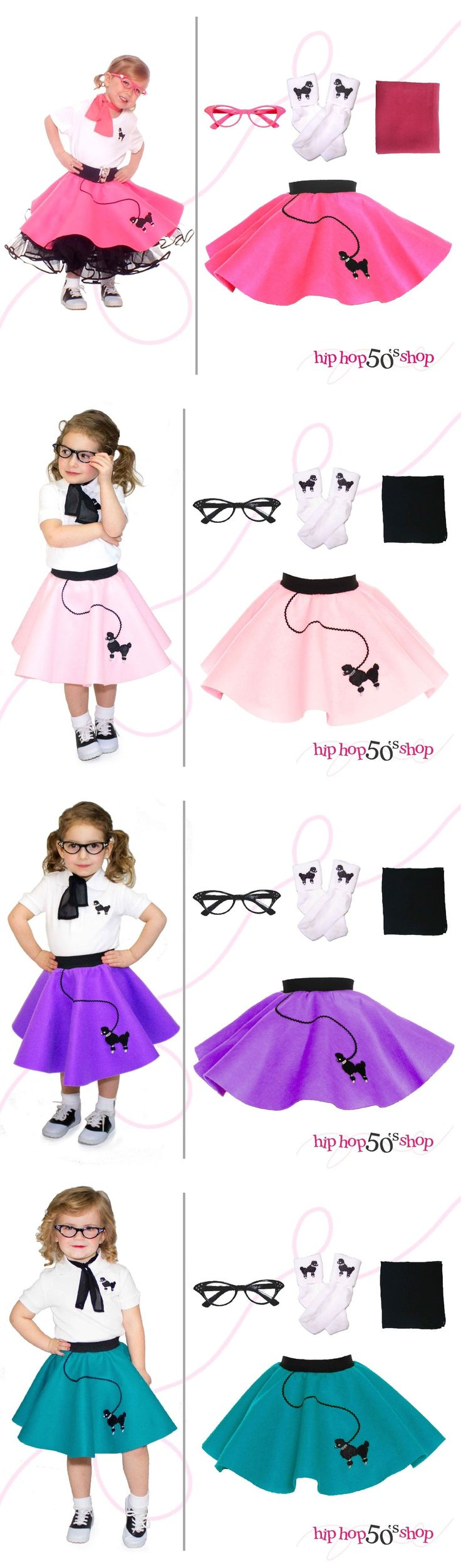 Halloween Costumes Kids: 4 Pc Toddler Poodle Skirt Outfit For Halloween Or Dance Costume Hip Hop 50S Shop -> BUY IT NOW ONLY: $32.99 on eBay!