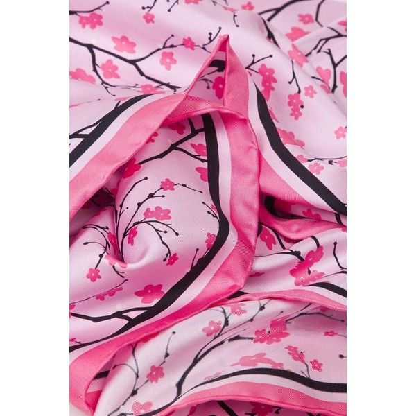 Cherry Blossoms Hot Pink Silk Square Scarf at Amazon Women's Clothing... ($25) ❤ liked on Polyvore featuring accessories, scarves, square silk scarves, square scarves, hot pink shawl, pure silk scarves and hot pink scarves