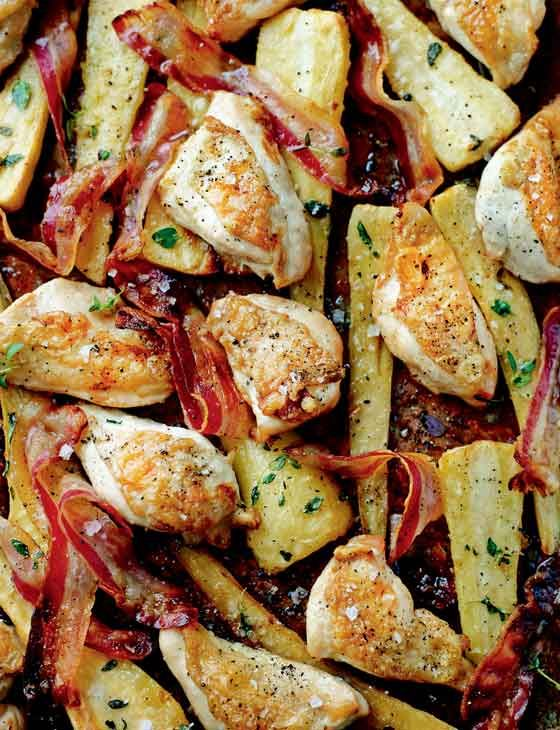Chicken, Pancetta, and Maple Syrup Traybake ~ roasted with parsnips, mustard, and thyme for an all-in-one dinner dish | recipe by Jo Wheatley, s2 winner of #GBBO ~ via Sainsbury's Magazine