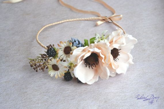 Boho flower crown Woodland hair wreath Anemone Bridal floral hair accessory Fall  Wedding floral crown Rustic flower wreath  cream crown