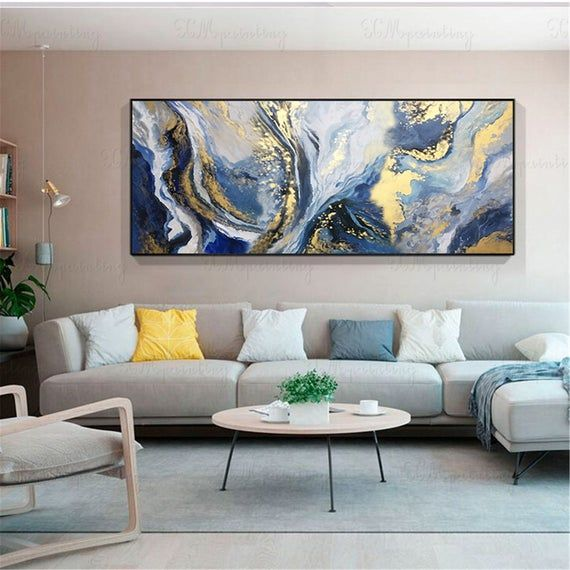Gold Art Abstract Painting Wall Art Picture For Living Room Etsy Living Room Canvas Living Room Art Abstract Wall Art Living Room Bedroom decor canvas abstract painting