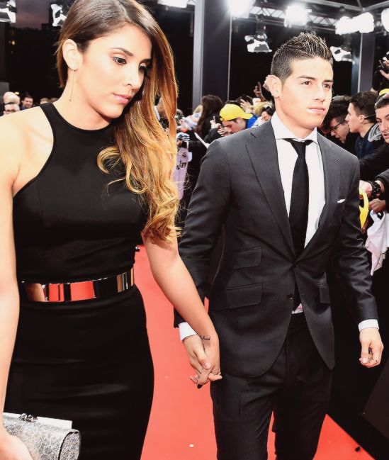 James Rodríguez with Daniela Ospina arrives at the FIFA Ballon d'Or gala