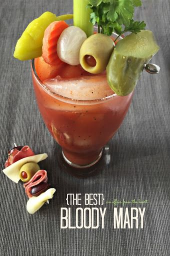 {the Best} Bloody Mary With Ice, Vodka, Zing Zang Bloody Mary Mix, Celery, Veggies, Pepper, Dill Pickles, Olives
