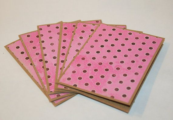 Note Cards 6 Blank Note Cards  Pink with Brown by Glued2Paper
