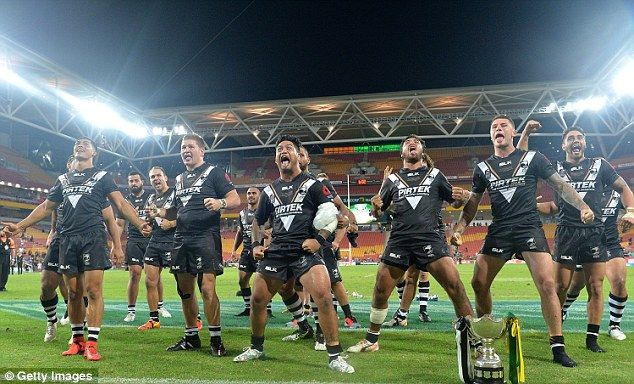 New Zealand perform the Haka as they celebrate their victory against Australia...