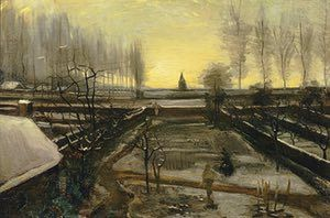 WINTER: The parsonage garden in the snow (January 1885) - Oil on canvas on wood panel. This winter scene of the garden of the parsonage at Nuenen, where Van Gogh lived with his parents for two years, was painted during a period of tension. He felt unwelcome and was frustrated at not being able to paint out of doors. This atmospheric piece is a view from a room on the first floor.  Photograph: Hammer Museum, Los Angeles