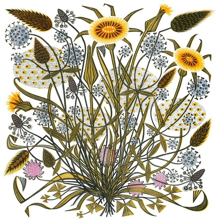 Angie Lewin 'Goat's Beard and Grasses' linocut