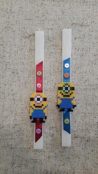 Minions. Handmade Easter Candle by Glykeria @Mother&Daughter