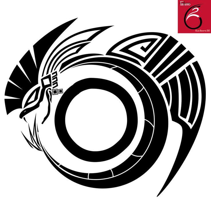 Quetzalcoatl Tattoo with tribal design.
