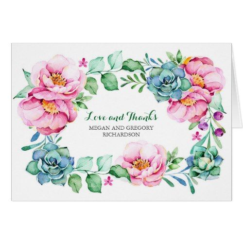 Succulent Thank You Cards pink flowers and succulents elegant thank you card