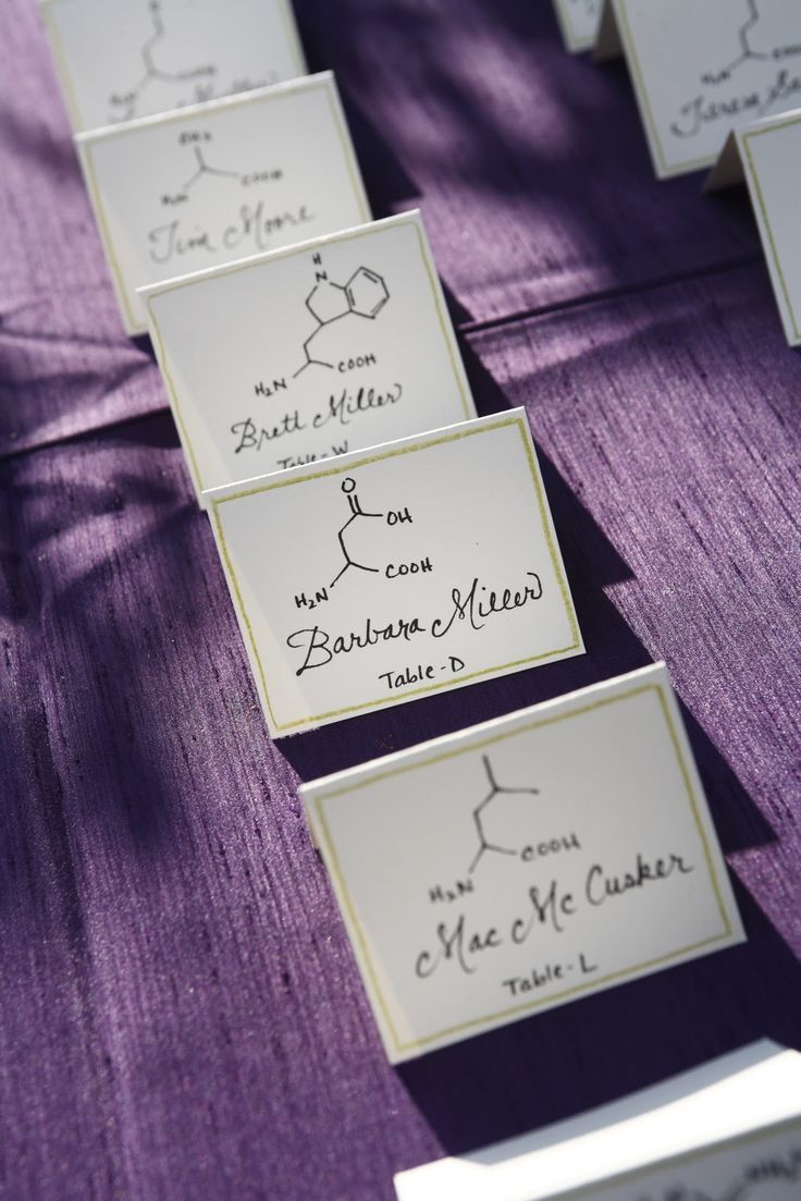 Nerdy wedding. Tables were lettered, and place cards had the molecular structure of the corresponding amino acid.      Allison K. Walker - Art & Illustration: Science Wedding Calligraphy