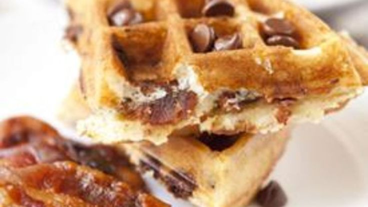 Crispy waffles made with Bisquick™ – and filled with crispy bacon and chocolate.