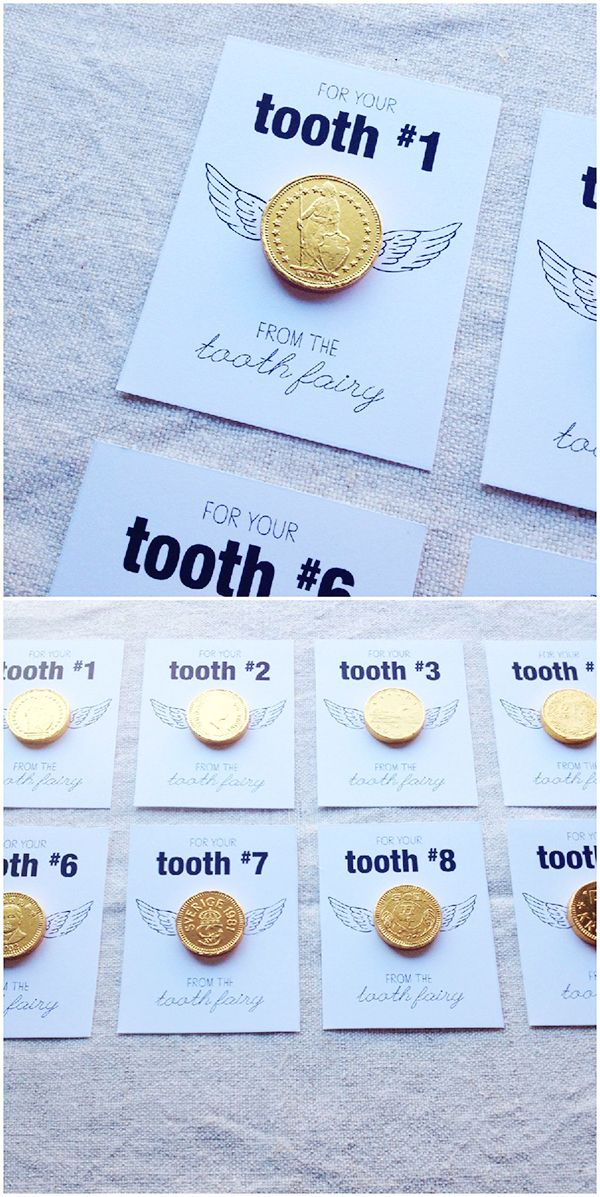 Gold Coin Tooth Fairy Free Printable. Surprise your kids with a coin from the tooth fairy, numbered by tooth!