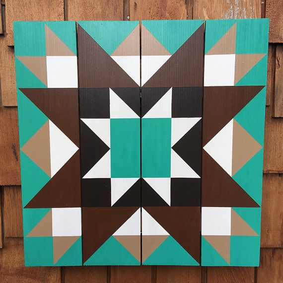 """21""""X21"""" STAR BARN QUILT: hand painted on Western Red Cedar Pallet. All my Barn Quilts are painted on new, #1 quality Western Red Cedar 5 ¼"""" fence boards. Unlike plywood or MDO, cedar is insect and decay resistant, making them ideal for outdoor or indoor locations. Additionally, the"""