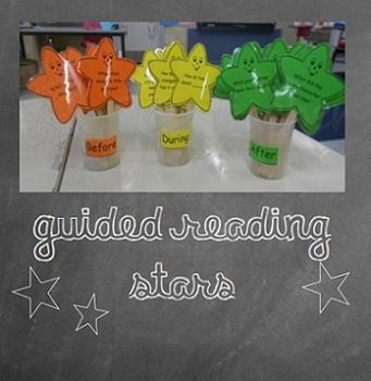 A collection of 36 star guided reading question cards. 8 before reading questions, 8 during reading questions and 20 after reading questions cards. #guidedreading