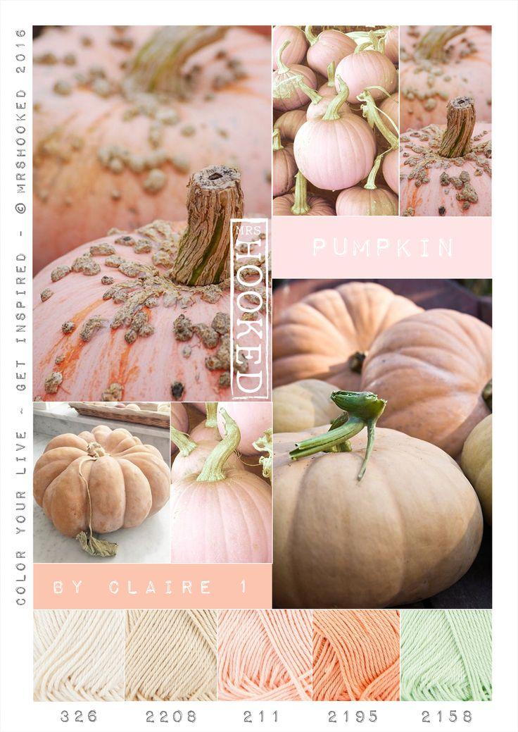 Kleurenpalet pompoen. Mooie zachte herfst tinten. Garen ByClaire