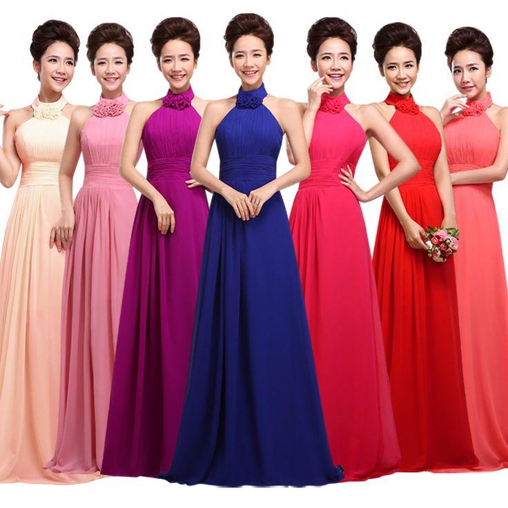 2017 new fashion plus size long purple color Chiffon Long vestido de festa Bridesmaid dresses