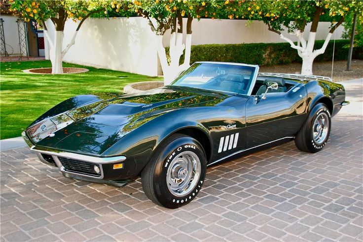 Fathom Green 1969 Chevrolet Corvette Stingray Convertible L89 427 Tri-power