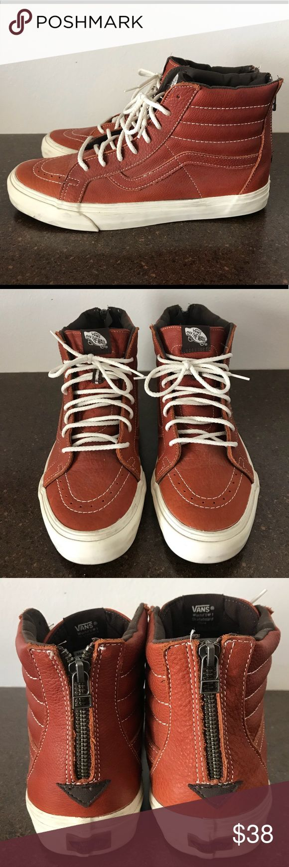 """California Sk8 Hi Vans These are the """"California"""" edition skate high vans, they are made of a tumbled leather and have been gently worn once Vans Shoes Sneakers"""