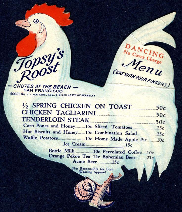 "C 1930 San Francisco  Topsy's Roost Original ""Chicken Shack Menu"""