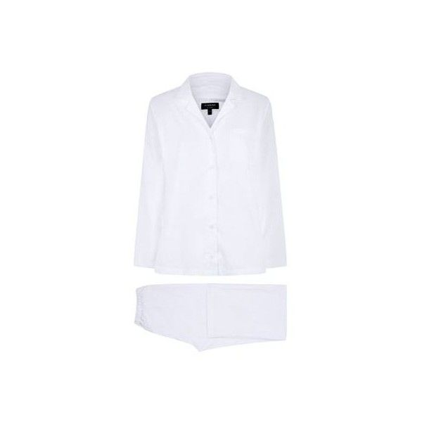 Harrods of London Striped Cotton Pyjama Set (1.170 DKK) via Polyvore featuring intimates, sleepwear, pajamas, cotton sleepwear, cotton pjs, cotton sleep wear, striped pajama set and striped pyjamas