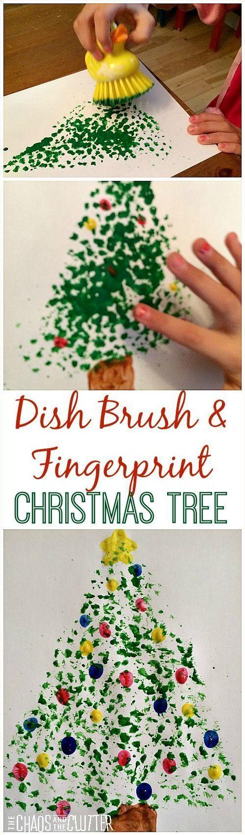 Dish Brush and Fingerprint Painted Christmas Tree - so cute!                                                                                                                                                                                 More