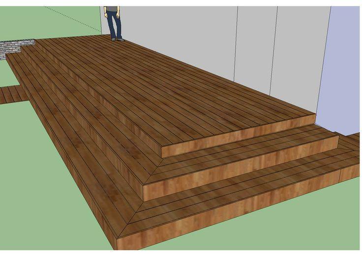 Terrasse en bois avec plusieurs niveaux