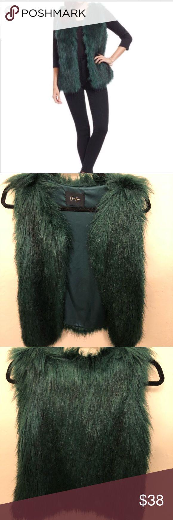 Jessica Simpson faux fur vest Emerald green Jessica Simpson faux fur vest! Excellent condition worn only once Jessica Simpson Jackets & Coats Vests