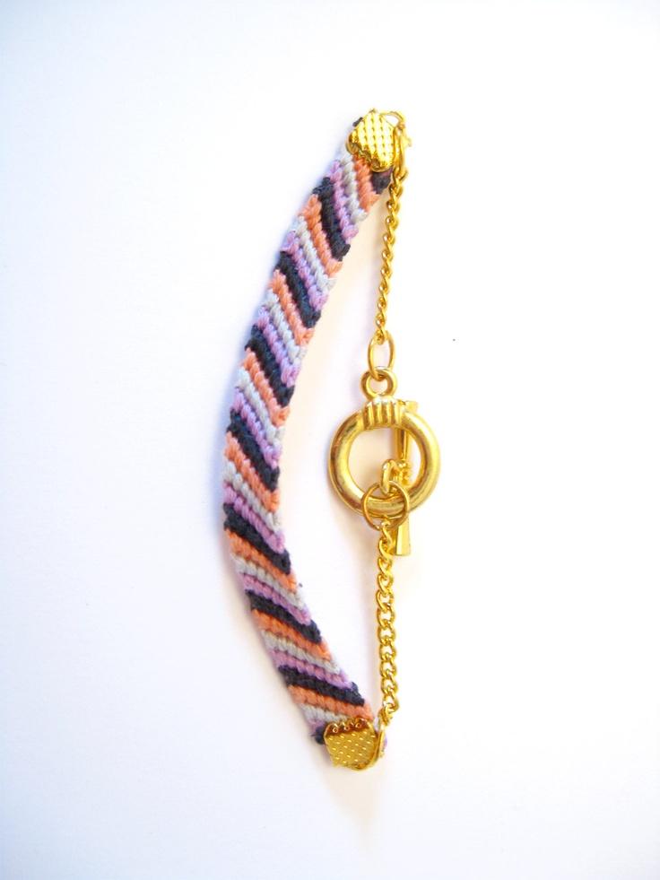 B.F.F Bracelet Coral, Grey, Purple & Striped. $20.00, via Etsy.