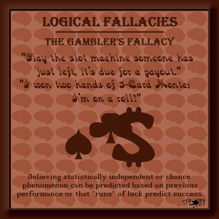 the gambler s fallacy the fallacy of Abstractthe gambler's fallacy is the irrational belief that prior outcomes in a series of events affect the probability of a future outcome, even though the events in question are independent and identically distributed.