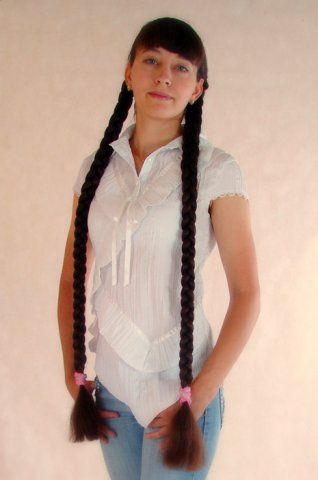 Elegant hairstyle twin thick shiny long braids | Pictures ...
