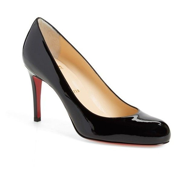 Women's Christian Louboutin Simple Pump ($675) ❤ liked on Polyvore featuring shoes, pumps, black patent, round toe pumps, black patent shoes, patent leather shoes, black shoes and black shiny pumps