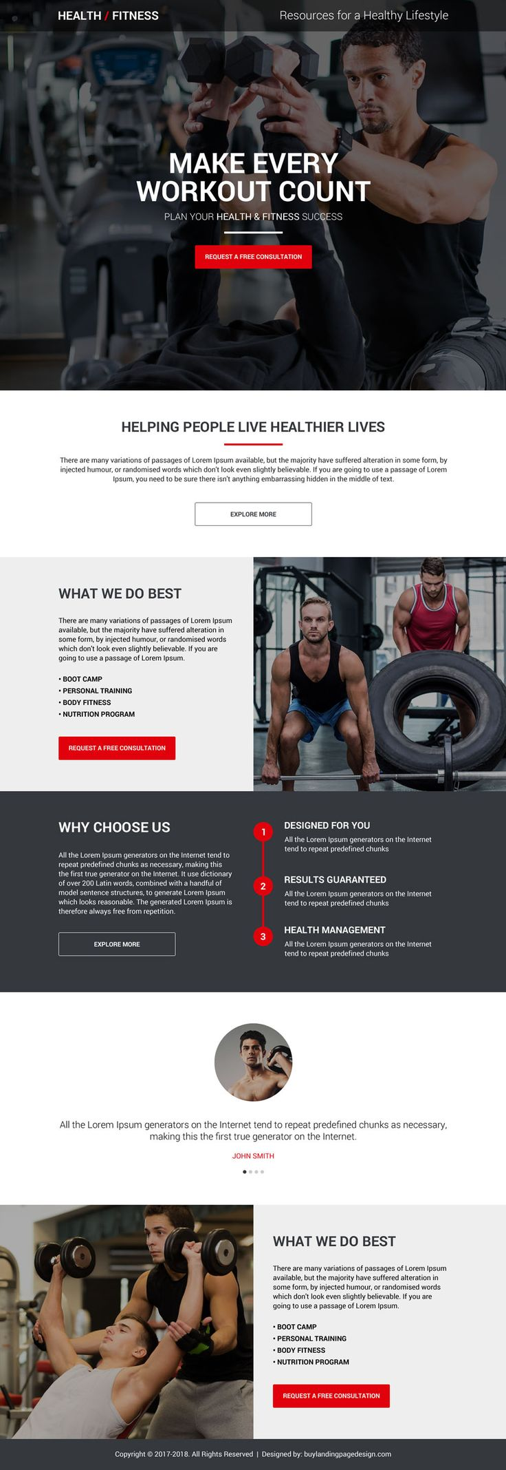 Health And Fitness Free Consultation Lead Capturing Landing Page Fitness Websites Health Fitness Health