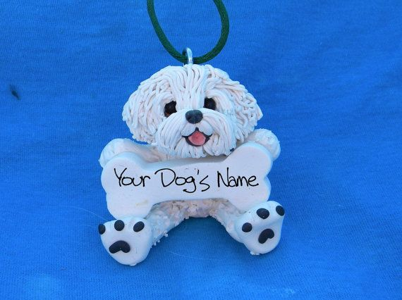 Bichon Frise Dog Christmas Bone Ornament OOAK Sally's Bits of Clay PERSONALIZED FREE